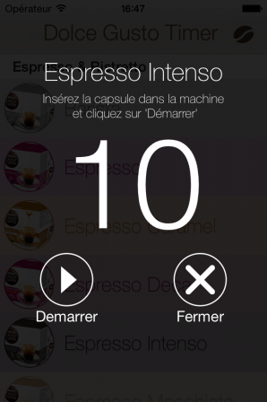 Dolce Gusto Timer iOs - Minuterie
