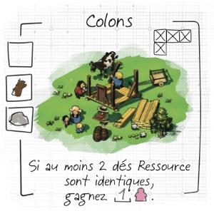 Imperial Settlers Roll and Write : Zoom sur le bâtiment Colons qui permet de jouer une action de plus.